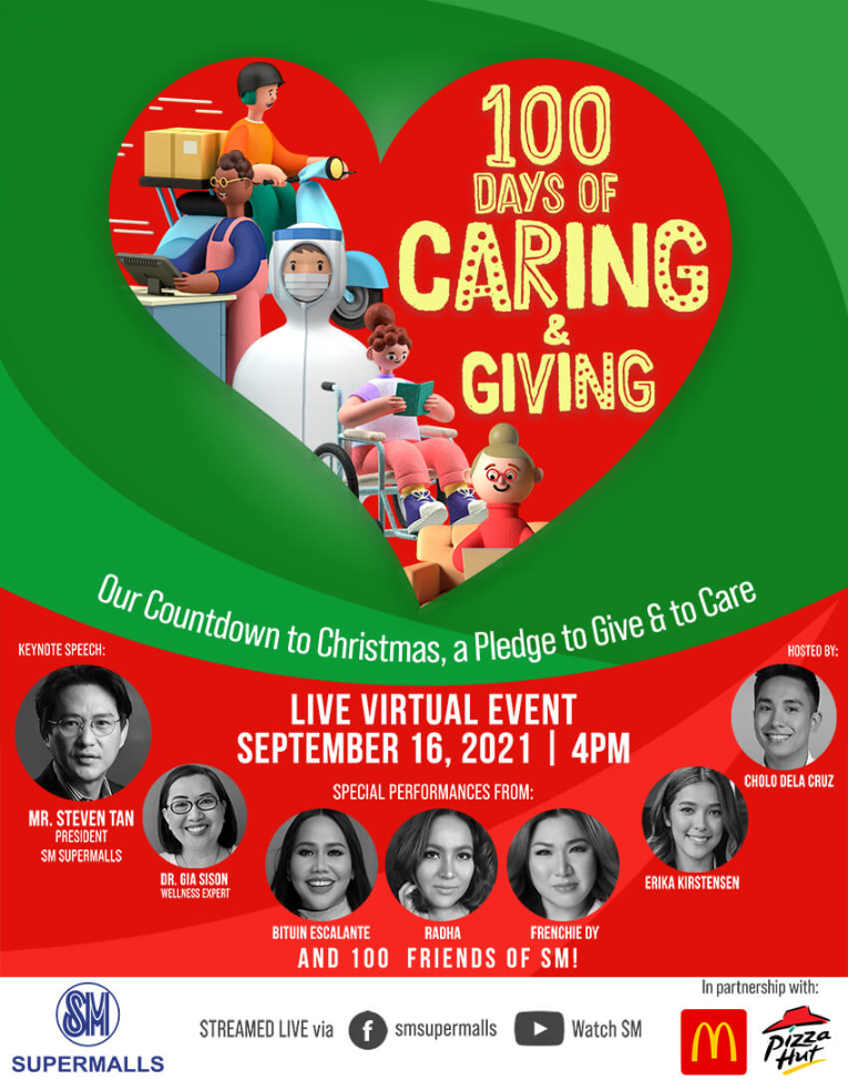 SM Supermalls 100 Days of Caring and Giving Virtual Event on Facebook Live and Watch SM YouTube Channel